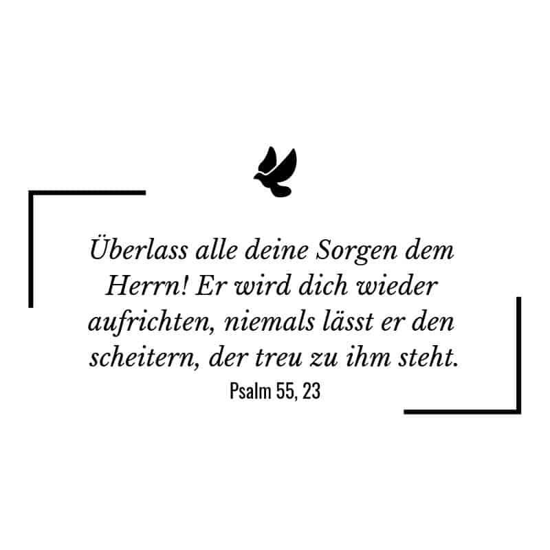Überlass alle deine Sorgen dem Herrn! Er wird dich wieder aufrichten, niemals lässt er den scheitern, der treu zu ihm steht. – Psalm 55:23 | Bibelspruch