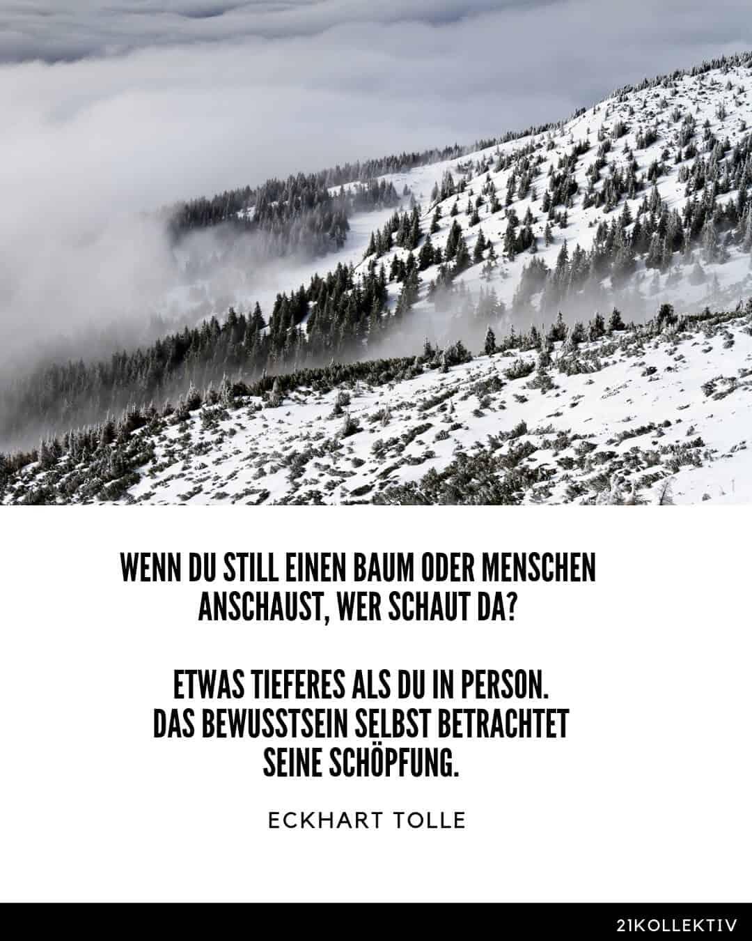 Wenn du still einen Baum oder Menschen anschaust, wer schaut da? Etwas Tieferes als du in Person. Das Bewusstsein selbst betrachtet seine Schöpfung. – Eckhart Tolle